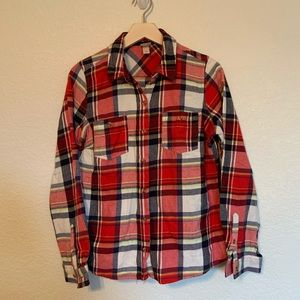 Mossimo red, black flannel long sleeve button up.